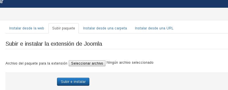 instalar extensiones en Joomla 3