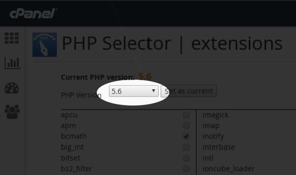 Seleccionar versión de PHP