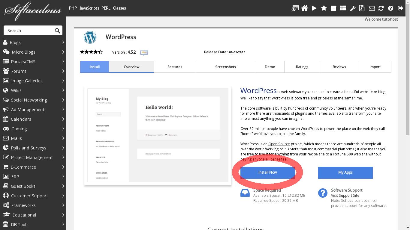 Cómo instalar WordPress mediante Softaculous