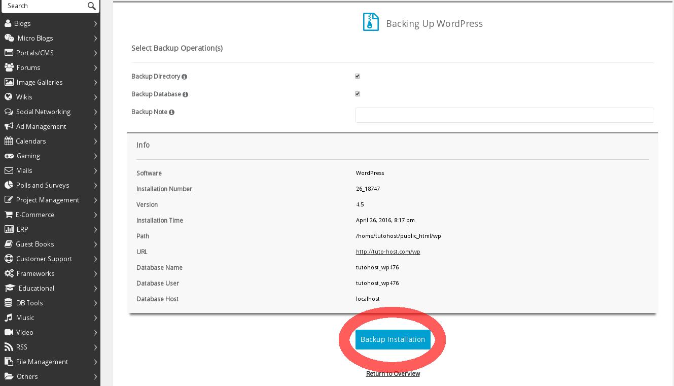 Cómo respaldar datos de Wordpress mediante Softaculous