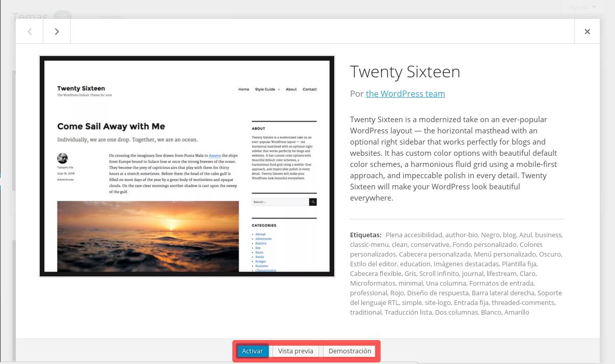 Cómo instalar Themes en Wordpress