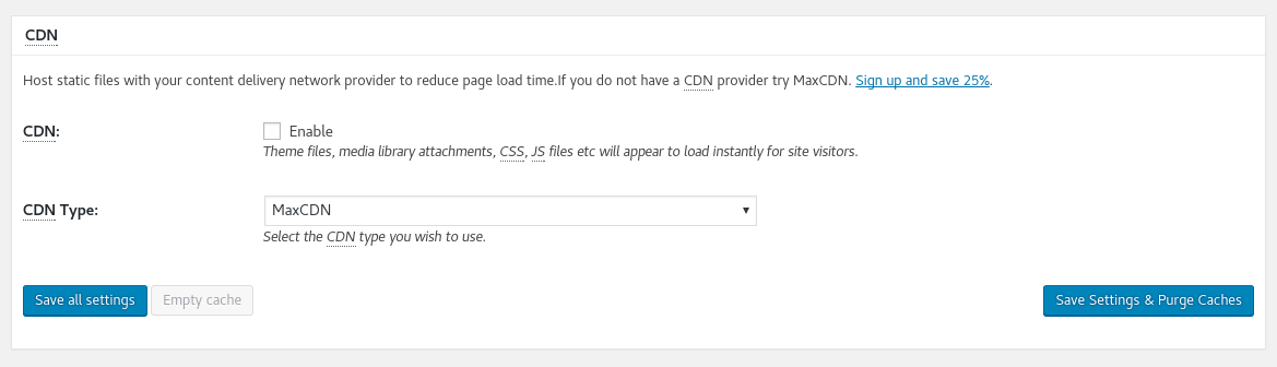 CDN Configuration on W3TC Plugin