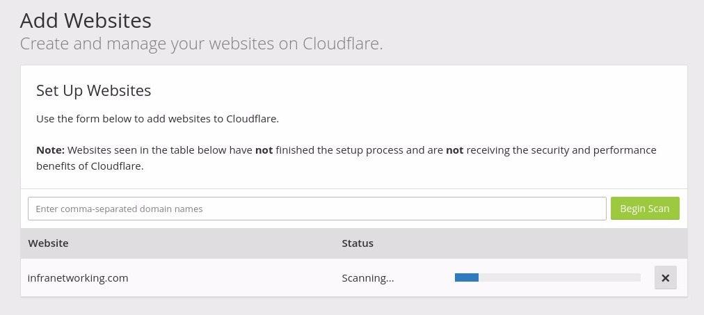 agregar sitios a Cloudflare