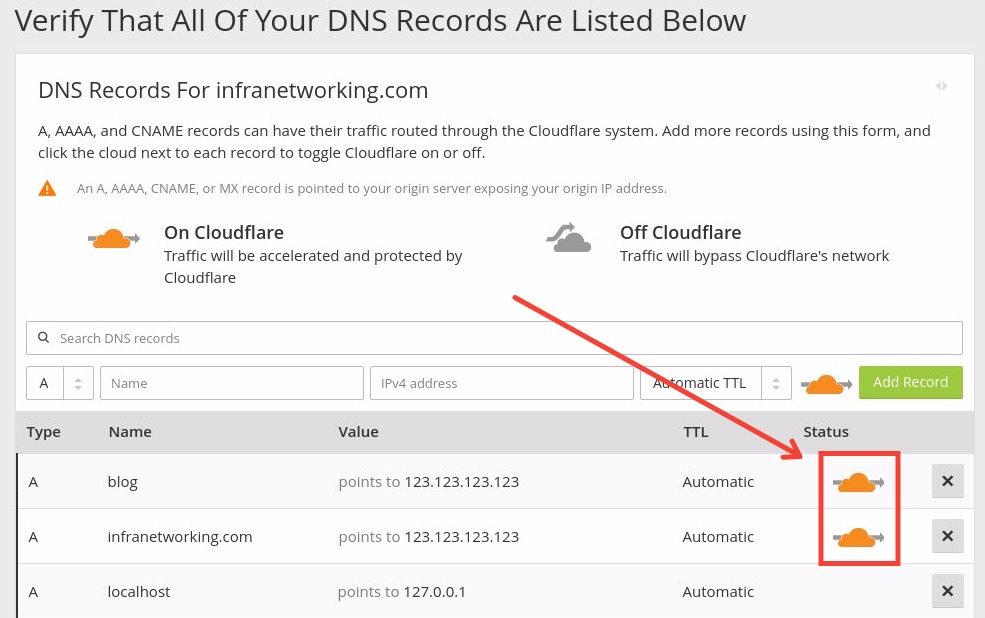 Verifica los registros DNS desde Cloudflare