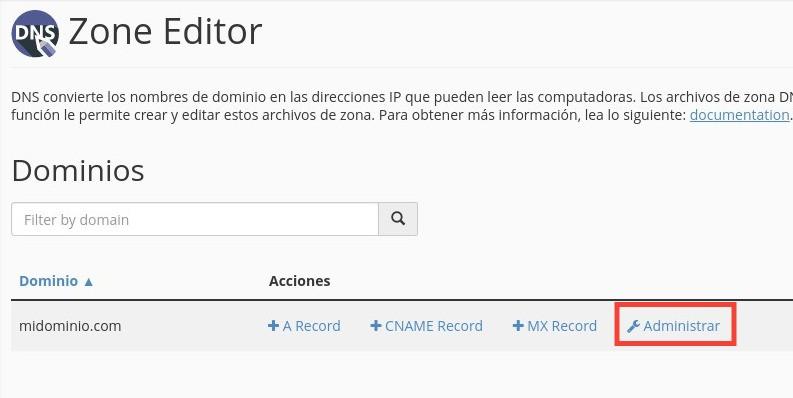 administrar registros DNS desde cPanel