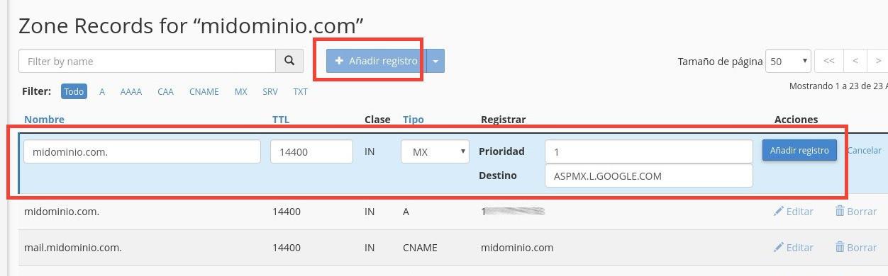 editar MX Google Apps cPanel