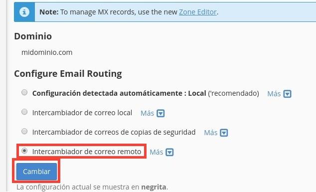 intercambiador de correo remoto cPanel