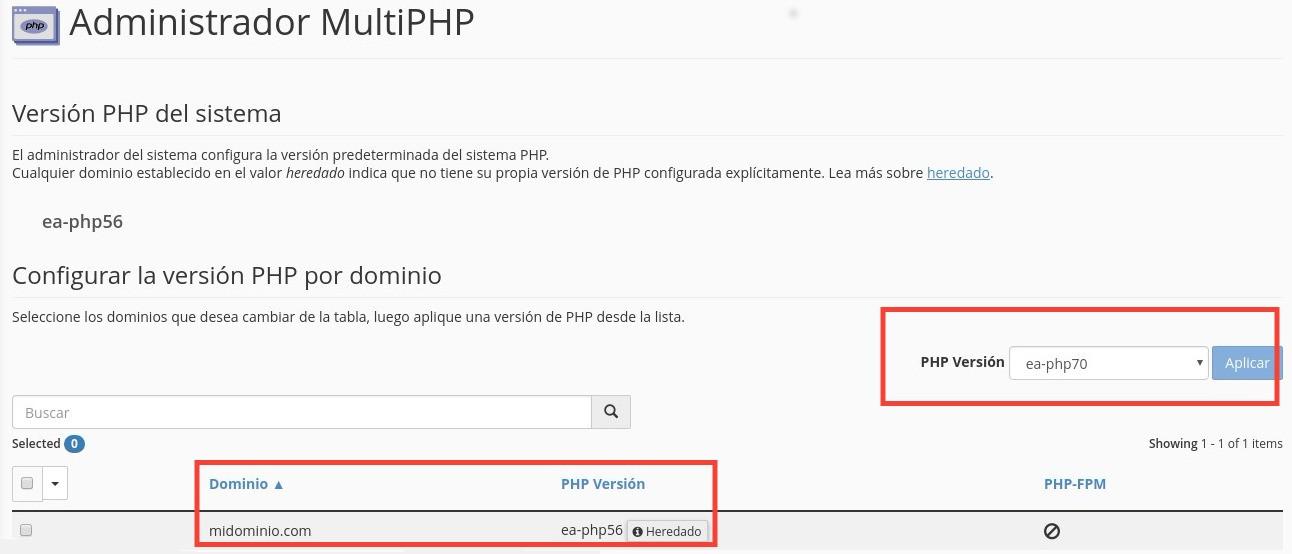 Cambiar Version de PHP en cPanel