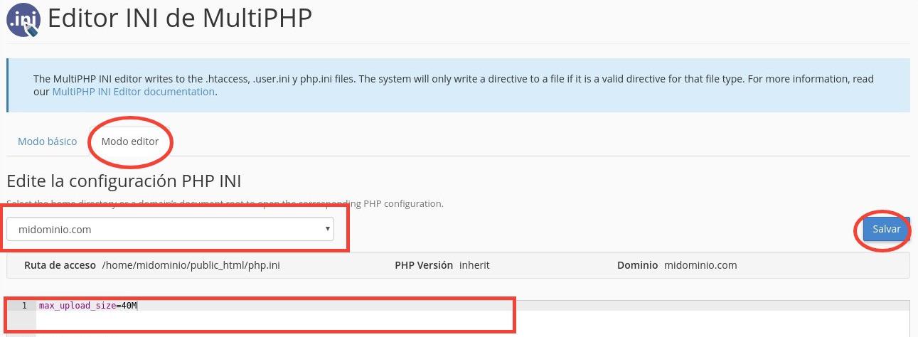 Cambiar configuración de PHP.ini en cPanel
