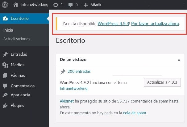 Actualizar WordPress Notificación