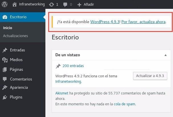 Actualizar WordPress Notificación