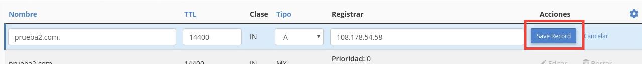 confirmando los cambios de DNS