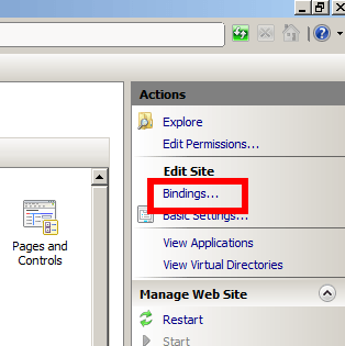 Actions - Bindings - IIS