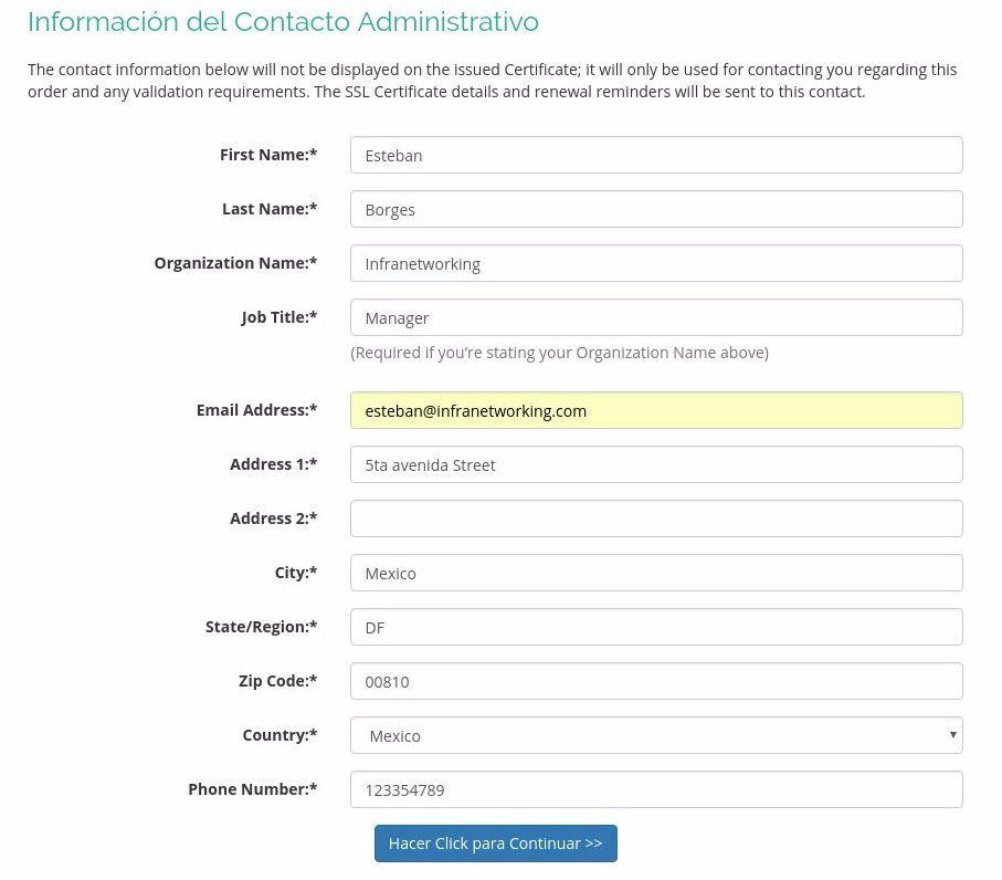 Contacto Administrativo