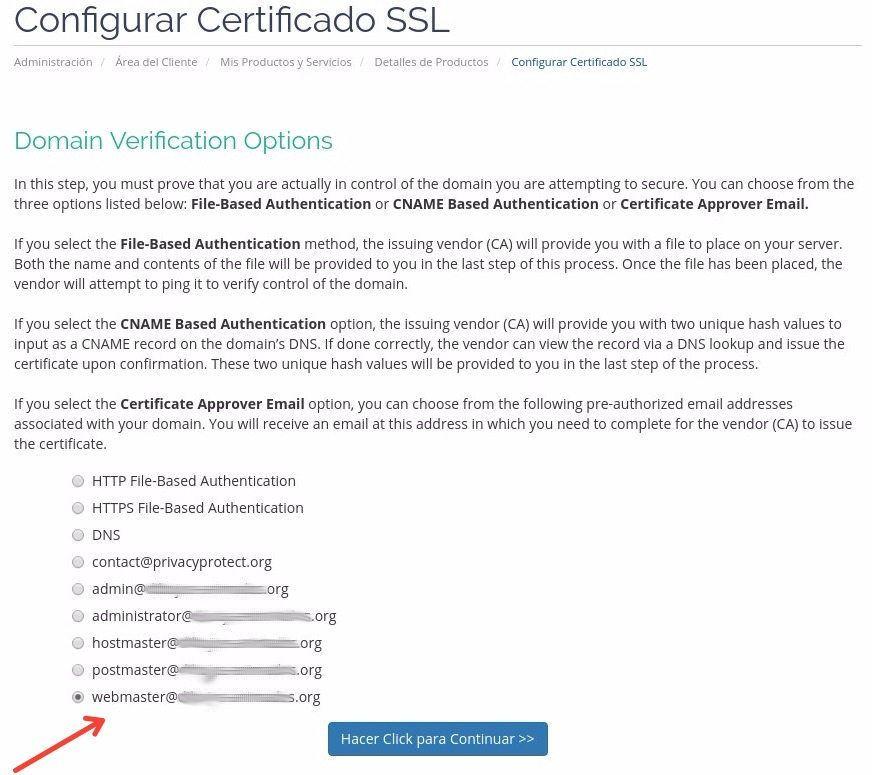 Verificacion del SSL