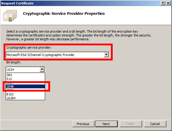 Cryptographic Service Provider Properties - IIS - Windows SErver