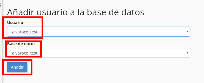 añadir user a bd cpanel