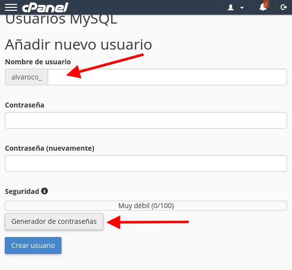añadir nuevo usuario mysql cpanel