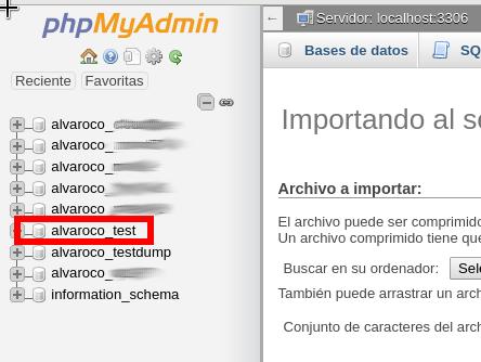 Cómo seleccionar una base de datos en phpMyAdmin