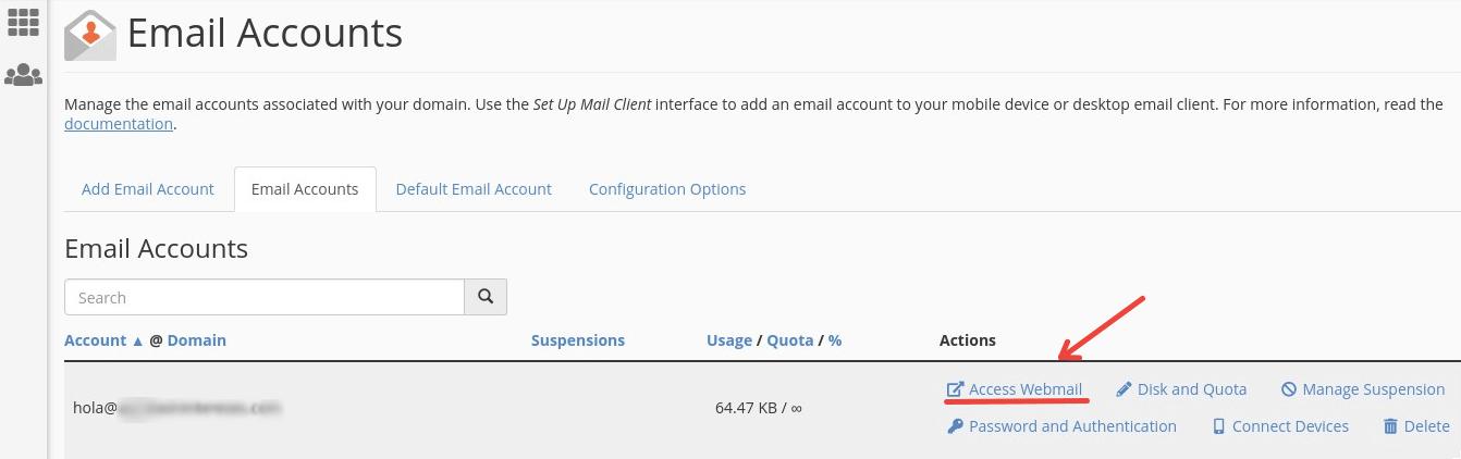 acceso a webmail desde cuentas de email
