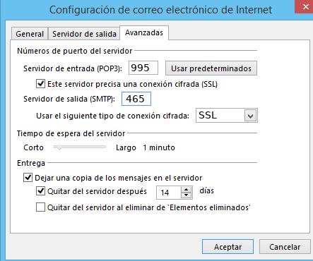 configurar puertos SSL outlook 2013