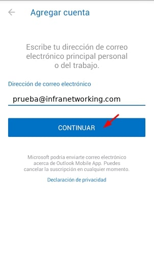 agregar cuenta Android correo outlook