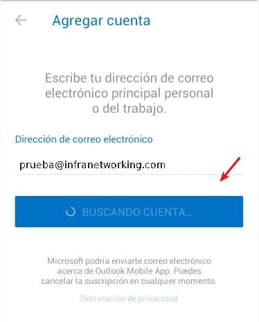 agregar direccion de correo electronico outlook Android