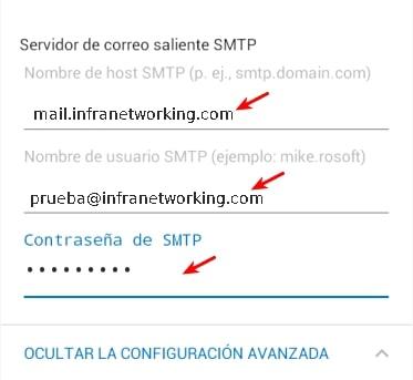 configurar SMTP correo outlook android