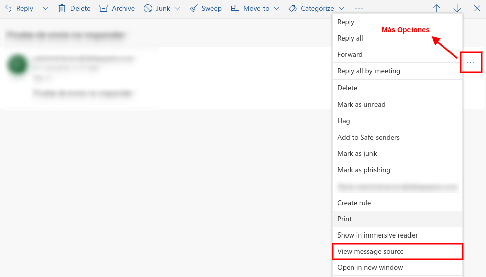 Cabeceras de email en Hotmail