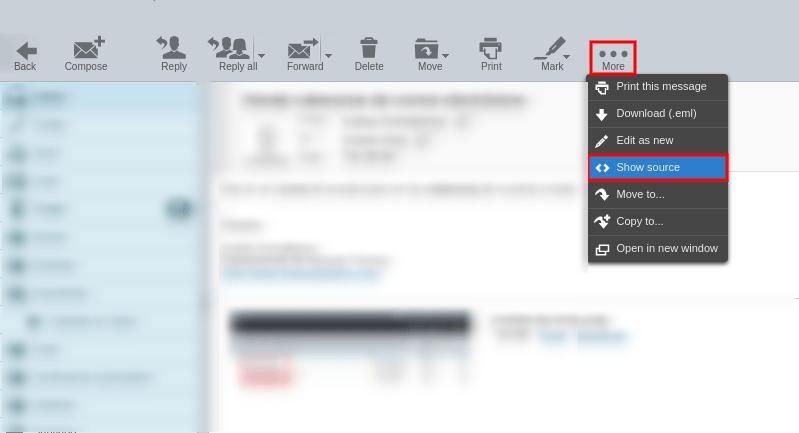 Cabeceras de email en Roundcube