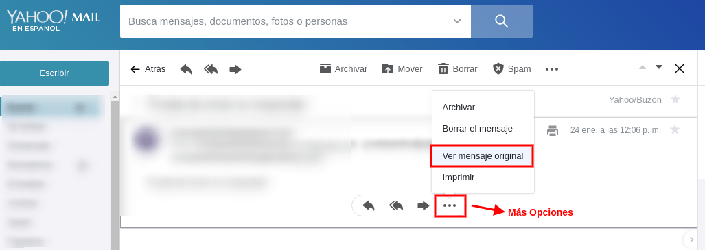 Cabeceras de email en Yahoo