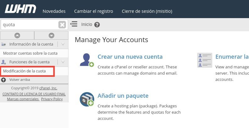 reasignar espacio plan multidominio whm cpanel