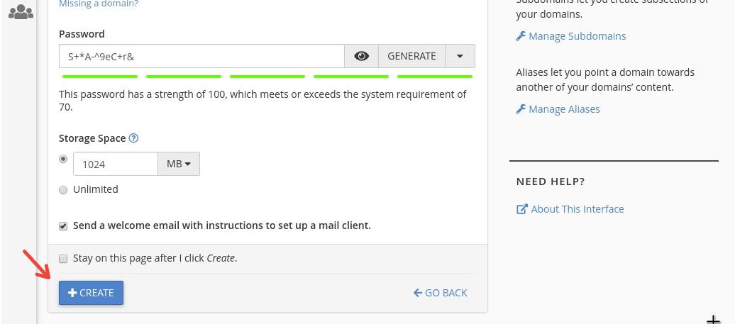 Colocar datos y crear casilla desde cPanel