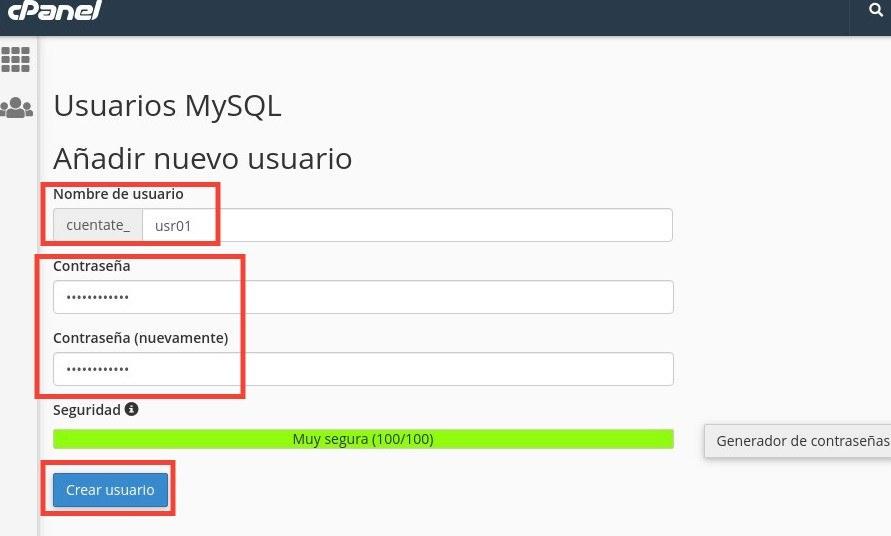 crear usuario mysql