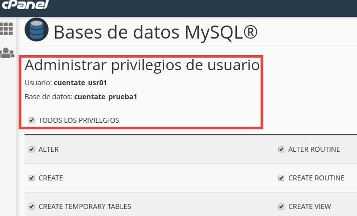 privilegios usuario mysql