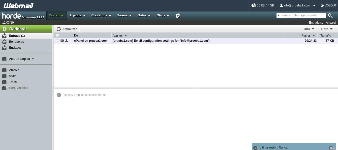 Interfaz de Horde en Webmail