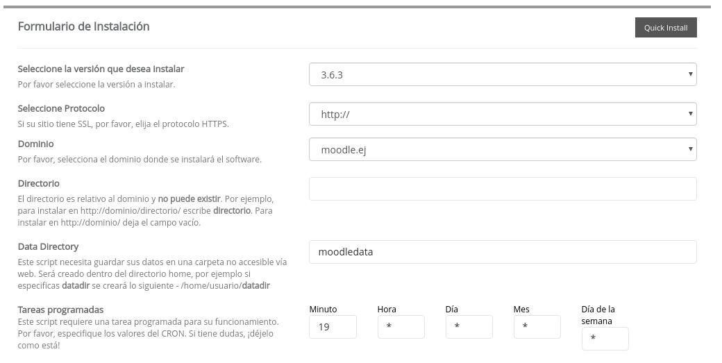 Formulario para instalar Moodle en Softaculous