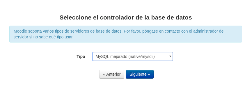 Seleccionar controlador de base de datos Moodle