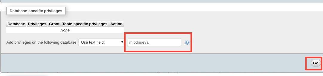 phpmyadmin base de datos usuario