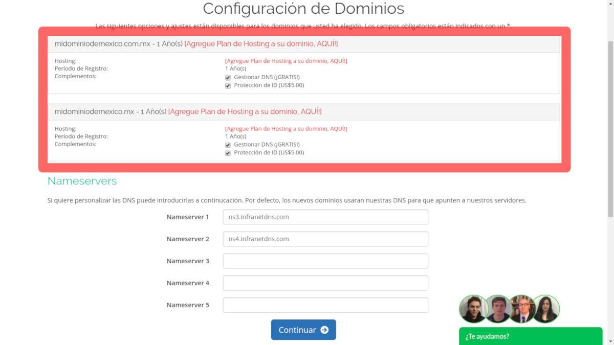 configuracion dominio mexico