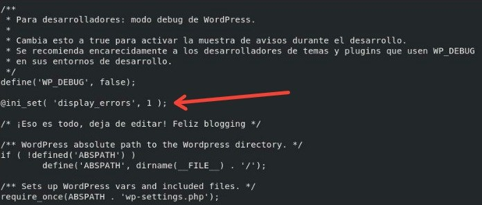 Origen del error 503 wordpress - activar debug con la variable display_error