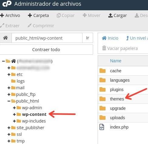 administrador de archivos - WordPress error 503