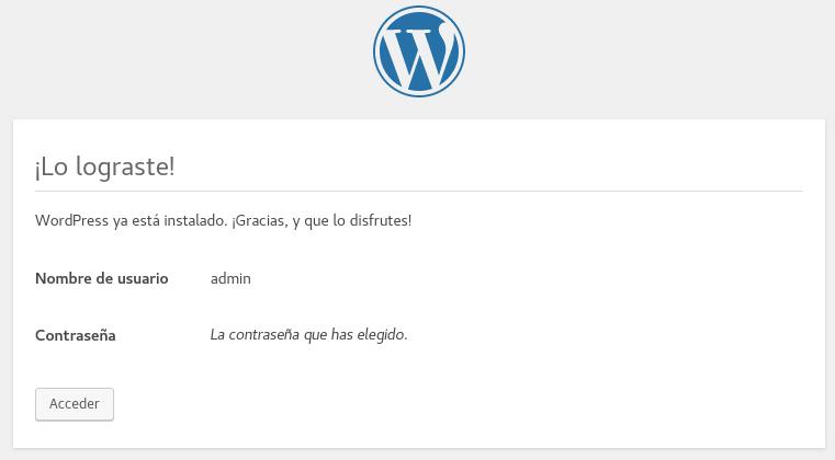 Instalación exitosa de WordPress