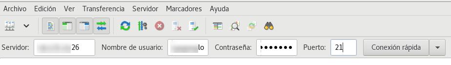 Conectar al servidor usando Filezilla