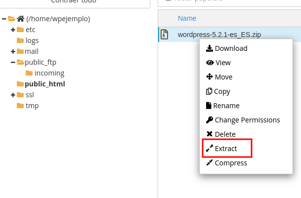 Extraer archivos WordPress