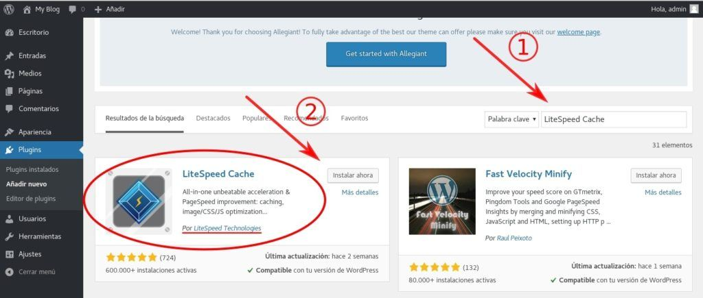 Instalar LiteSpeed Cache desde el repositorio de plugins de WordPress