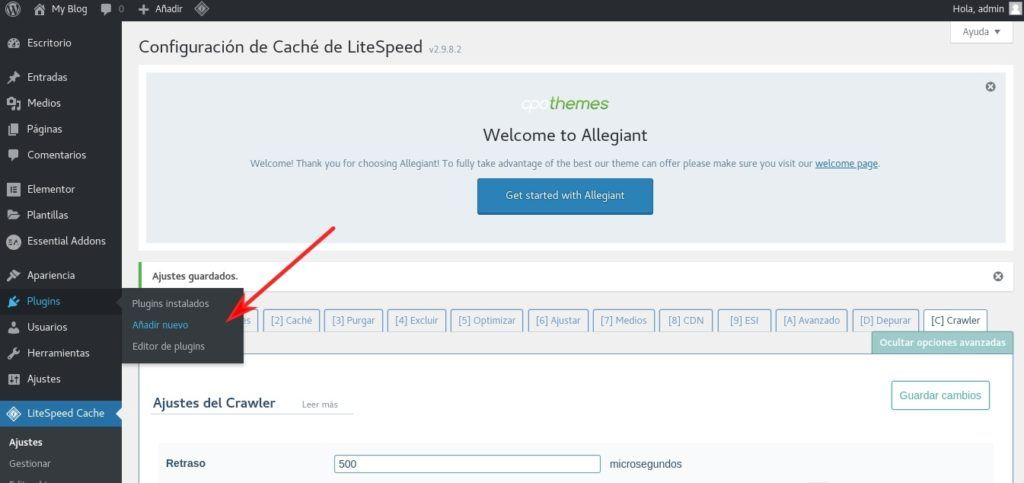 Añadir plugin LSCache en WordPress