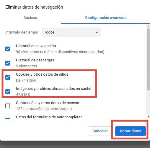 Borrar cookies y archivos temporales del navegador