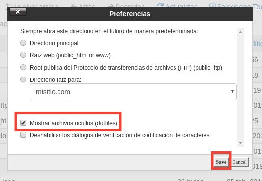 Mostrar archivos ocultos en cPanel