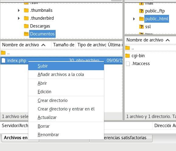 Subir un archivo index.php a nuestro directorio public_html